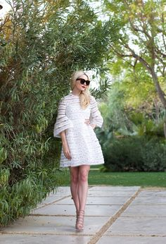white lace dress with gladiator sandals