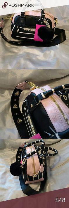 Betsey johnson guitar strap mini pink NWT Heart detail   (hL) Betsey Johnson Bags Crossbody Bags