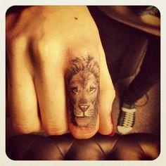 Lion Finger Tattoo -