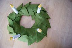 nest full of eggs: St Lucia crown/wreath centerpiece