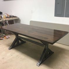 Trapezoid Steel Legs with 2 Braces, Model Dining Table Industrial Legs, Set of 2 Legs and 2 Braces Modern Table Legs, Steel Table Legs, Coffee Table Legs, Modern Bench, Modern Dining Table, Kitchen Table Legs, Dining Table Legs, Trestle Table, Industrial Dining