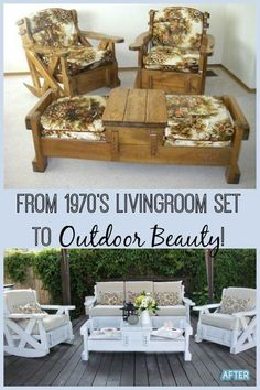 I have seen these living room sets in thrift stores and passed them up.quickly, but I love how this was recycled into a beautiful outdoor furniture set. # refurbished Furniture Set to Outdoor Beauty! Refurbished Furniture, Repurposed Furniture, Painted Furniture, Rustic Furniture, Antique Furniture, Luxury Furniture, Farmhouse Furniture, Metal Furniture, 1970s Furniture