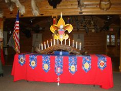 My son's Eagle Court of Honor.  Our troop didn't have anything for props so my husband and I made everything on the table for both our sons ECOH's