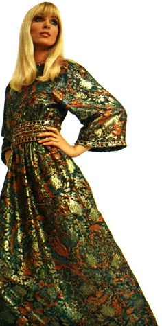 Christian Dior, 1968 vintage fashion style 60s 70s tapestry dress green gold floral embroidery