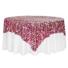 """Large Payette Sequin Table Overlay Topper 85""""x85"""" Square - Pink– CV Linens Beachy Centerpieces, Round Table Sizes, 90 Round Tablecloths, Linen Company, Tropical Party Decorations, Table Overlays, Wedding Table Settings, Wedding Tables, Pink Table"""
