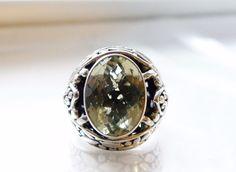 HUGE Sterling Silver 925 Ornate JH Style 12ct Natural Green Prasiolite Ring #JHStyle #Cocktail #JohnHardy #JohnHardyInspiredRing #JohnHardyJewelry #DesignerInspiredRing