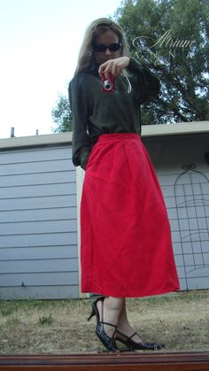 82c7f8663756dd More red and silk for Valentine s! Linda Hutton olive green high neck  delicate silk top