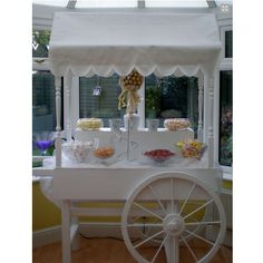 Sweet cart for sale With a Scalloped top - Might be possible to commission a 'rougher' version complete with the thatch roofing? Sweet Cart For Sale, Sweet Cart Hire, Sweet Carts, Wedding Hire, Luxury Wedding, Wedding Ideas, Candy Cart Hire, Traditional Wedding Favours, Sweet Buffet