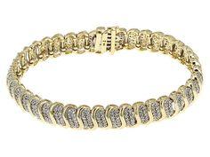 2.00ctw Round Diamond 10k Yellow Gold Cluster Bracelet