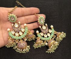 Indian Jewelry Earrings, Indian Jewelry Sets, Fancy Jewellery, Jewelry Design Earrings, Indian Wedding Jewelry, India Jewelry, Ear Jewelry, Stylish Jewelry, Fashion Earrings