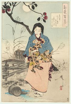 Lady Chiya and the Fallen Water Pail by Yoshitoshi. Kaga no Chiyo was a Japanese poet of the Edo period, and widely regarded as one of the greatest female haiku poets. Haiku, Japanese History, Japanese Painting, Chinese Painting, Japanese Prints, Japan Art, Comic, Woodblock Print, Chinese Art