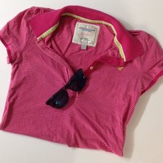 Pink Striped Polo Short sleeve pink striped polo. American Eagle Outfitters Tops