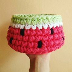 Watermelon crochet basket