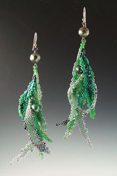 Peyote Stitched Seaform Earrings with pearl by mikelle77 on Etsy, $400.00