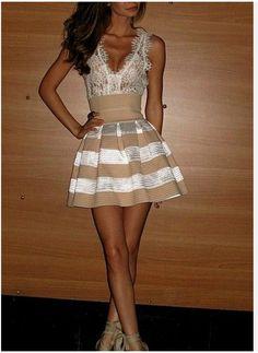 laced striped dress