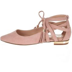 River Island Pink pointed lace-up flat shoes (£18) ❤ liked on Polyvore featuring shoes, pink, pointed-toe flats, flat pointy shoes, lace up pointed toe flats, pointy-toe flats and lace up flats