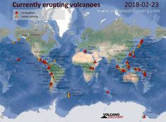 "How many volcanoes would you guess are erupting right this minute? Would you guess 5? Would you guess 10? Try 25 – many of them in the Far East, but plenty in Central and South America around the so-called ""ring of fire."" Check out this map from VolcanoDiscovery.com of the 25 currently erupting volcanoes today. […]"