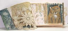 A soft cloth book, much like books for infants...but with a difference.  Love the vintage crochet...beautiful.