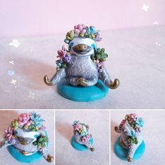 Happy sloths do #yoga!💚  Some succulents grown up on this sloth during his meditation!😄  Making succulents is so funny and relaxing, I think these plants fit well with the sloths!  What do you think?💙  .  .   #polymerclay #fimo #miniatures #handcrafted  #succulent  #succulove #succulents #plants #succulentlove  #plant_addiction #succulentaddict #succulentlover #sloth #slothlife #meditation #yoga #meditate @arts_help @artistic_unity_