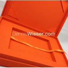 Hand-made cotton invitation box for wedding + formal events by Dennis Wisser. Orange cotton was used for this latest creation. Hinged lid with cotton corners to hold picture or cards. An additional inlay allows placing acrylic cards or chocolate bars on the bottom of the box. Must have!
