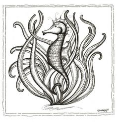 Print of black and white Seahorse pen and ink drawing Seahorse Drawing, Ways To Be Happier, Tribal Tattoos, Clip Art, Map, Black And White, Drawings, Pictures, Photos