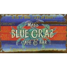 Blue Crab - Kitchen and Home Vintage Signs