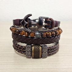 kit 4 Pulseiras masculinas Couro Pedras Ancora Tribal mens bracelets moda fashion leather homem style pulseirismo cocar brasil