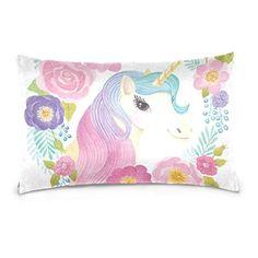 dbf9b991dc8ff Cooper girl Unicorn Flowers Rose Pillow Case Sofa Bed Throw Pillow Cover  Cotton Zipper 20x26 Inch