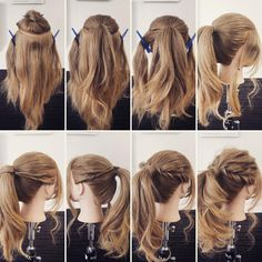 10 amazing tips and tricks for girls with curly hair 16 The most beautiful hair ideas, the most tren Curly Hair Styles, Long Curly Hair, Medium Hair Styles, Work Hairstyles, Pretty Hairstyles, Waitress Hairstyles For Long Hair, Hairstyle For Curly Hair, Easy Ponytail Hairstyles, Quick Easy Hairstyles