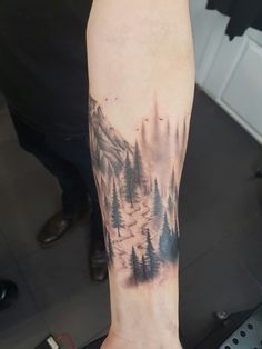 #tattoo #ink #cuff #arm #trees #mountain #forest #stream