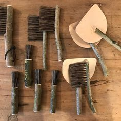 Bristling with creativity, Geoffrey Fisher makes these brushes and pans from wood collected from the forest floor. Left to dry for a year in his workshop in Buckinghamshire before hand crafting into this delightful series of useful and functional objects, literally bringing nature into the home #homestories #handmade #homewares #utensils #brushes #pans #bristles
