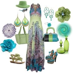 Multi-colored Maxi Dress, created by mammabee53 on Polyvore