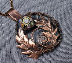 Copper pendant Thistle with handmade lampwork bead - Pendant necklace - Bocho scotland pendant necklace