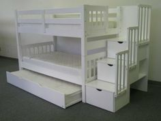Amazon.com - Bedz King Twin Over Twin Stairway Bunk Bed with Twin Trundle, White - Girls Bunk Beds