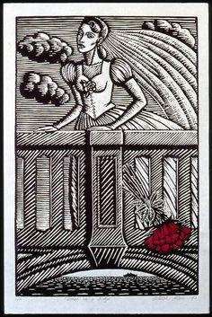 """Woman on a Bridge"", 1996, linocut by Deborah Klein. http://www.deborahklein.net/ Tags: Linocut, Cut, Print, Linoleum, Lino, Carving, Block, Woodcut, Helen Elstone, Australian, Female, Woman, Face, Stone, Bridge, Sky, Clouds, Architecture, Bride, Film Noir."