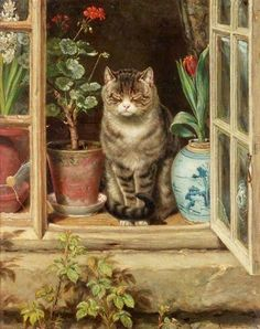 ♞ Artful Animals ♞ bird, dog, cat, fish, bunny and animal paintings - Ralph Hedley | Blinking in the Sun, 1881