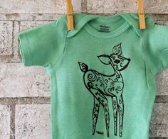 Baby Deer Baby onesie Woodland fawn baby by CausticThreads on Etsy, $16.00
