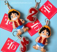 ★ Luffy from One Piece anime ★ Handmade felt keychains by FD.FOREVER #craft #crafts #cute #children