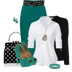 I could never wear heels this high, but I love the contrast of teal, black and white. Also not much of a handbag girl. Swap the heels for flats, ditch the bag and I would wear this outfit tomorrow.
