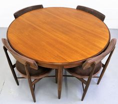 Retro Gplan Fresco Extending Round Dining Table with 4 Matching