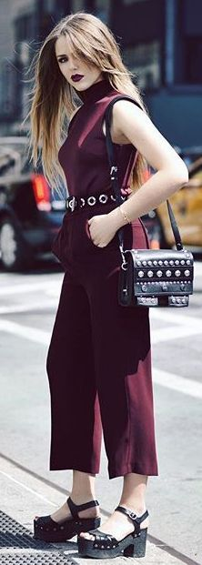 Burgundy Jumpsuit N Y F W Fall Inspo by Kayture