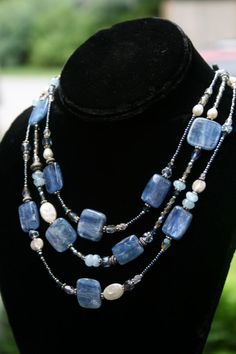 Kyanite Triple Strand Necklace by CrystalGarden1 on Etsy, $165.00