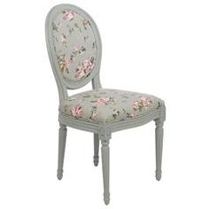 FABRIC CHAIR W/GREEN FLORAL WITH WOODEN LEGS 54X50X95