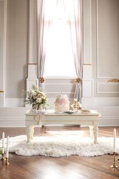 Elegant and Romantic Wedding Cake Table   SLF Weddings   http://heyweddinglady.com/intimate-love-story-engagement-blush-taupe-gold/