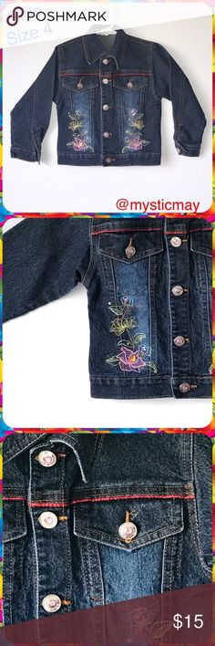 """Girls Embroidered Floral Jean Jacket w Rhinestones Super cute dark wash denim jacket with pink rhinestone button closure. Long sleeve. Pockets at the chest. Embroidered flowers along the waist. Girls Size S or 4. Measures 13"""" across the chest and 14.5"""" in length. No signs of wear except for one missing cuff button- see pic. So cute! Jackets & Coats Jean Jackets"""