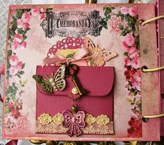 """Page from """"Memories""""Album Various hidden journaling areas, pockets and photo areas  By:delightfullycrazytoo"""