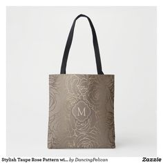 Stylish Taupe Rose Pattern with Your Monogram Tote Bag Monogram Tote Bags, Custom Tote Bags, Body Bag, Taupe, Beige, Gifts For Her, Reusable Tote Bags, Stylish, Earth Tones