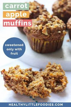 Carrot Apple Muffins sweetened only with fruit. Perfect for breakfast or as a healthy snack. Great for baby-led weaning. Fruit Recipes For Kids, Baby Food Recipes, Sweet Recipes, Snack Recipes, Toddler Recipes, Healthy Sweet Snacks, Healthy Toddler Meals, Easy Snacks, Toddler Food