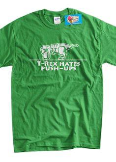 TRex Hates pushups Dinosaur Screen Printed TShirt by IceCreamTees, $14.99