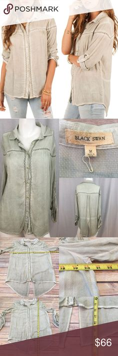 💄Medium Black Swan Emelia Button Down Hi/Low Top Measurements are in photos. NEVER WORN NEW WITHOUT TAGS, no flaws. D3  Ask about a bundle discount on all items that are not ⏰Flash Sale items! I ship everyday. I always package safely. If I run out of boxes, I will use priority bags over a polymailer bag. If you prefer to only receive this great item in a box, please let me know! Thanks! Black Swan Tops Button Down Shirts